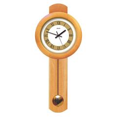 Часы настенные САЛЮТ ДС-1МБ27-803, с маятником, круг, бело-золотые, деревянная рамка, 71х31х6 см