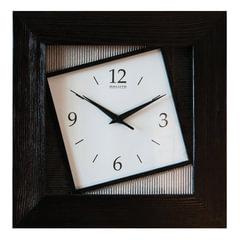 "Часы настенные САЛЮТ ДСЗ-4АС6-315, квадрат, белые, ""Ассиметрия"", деревянная рамка - венге, 35х35х4,5 см"