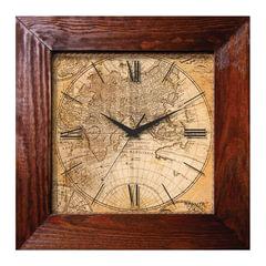 """Часы настенные САЛЮТ ДСТ-4АС28-462, квадрат, с рисунком """"Магеллан"""", деревянная рамка, 35х35х4,5 см"""