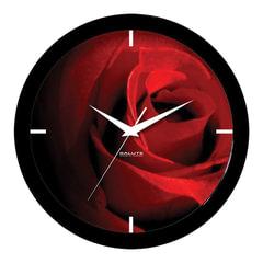"""Часы настенные САЛЮТ П-Б6-400, круг, черные с рисунком """"Роза"""", черная рамка, 28х28х4 см"""