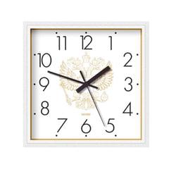 """Часы настенные САЛЮТ П-2А8-184, квадрат, белые с рисунком """"Герб"""", белая рамка, 28х28х4 см"""