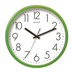 Часы настенные САЛЮТ П-2Б3.4-012, круг, белые, зеленая рамка, 26,5х26,5х3,8 см