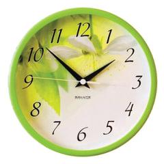 """Часы настенные САЛЮТ П-2Б3.4-333, круг, белые с рисунком """"Весна"""", зеленая рамка, 26,5х26,5х3,8 см"""