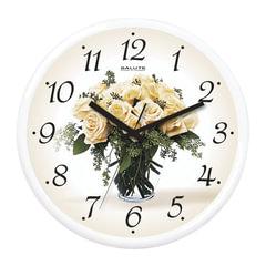 """Часы настенные САЛЮТ П-2Б7-328, круг, белые с рисунком """"Букет белых роз"""", белая рамка, 26,5х26,5х3,8 см"""