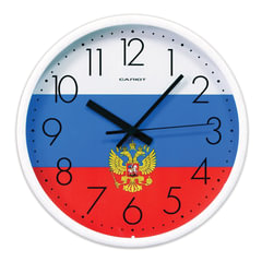 """Часы настенные САЛЮТ П-2Б8-185, круг, с рисунком """"Флаг"""", белая рамка, 26,5х26,5х3,8 см"""
