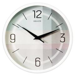 Часы настенные САЛЮТ П-2Б8-453, круг, светло-серые, белая рамка, 26,5х26,5х3,8 см