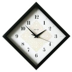 Часы настенные САЛЮТ П-2Е6-421, ромб, белые, черная рамка, 28х28х4 см