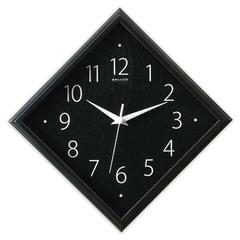 Часы настенные САЛЮТ П-2Е6-461, ромб, черные, черная рамка, 28х28х4 см