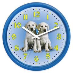 "Часы настенные САЛЮТ ПЕ-Б4.1-232, круг, голубые с рисунком ""Собаки"", голубая рамка, 24,5х24,5х3,5 см"