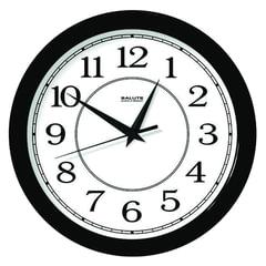 Часы настенные САЛЮТ П-Б6-014, круг, белые, черная рамка, 28х28х4 см