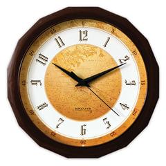 """Часы настенные САЛЮТ П-Г1.2-128, многоугольник, с рисунком """"Карта"""", коричневая рамка, 28х28х4 см"""