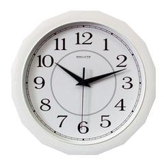Часы настенные САЛЮТ П-Г7-014, многоугольник, белые, белая рамка, 28х28х4 см