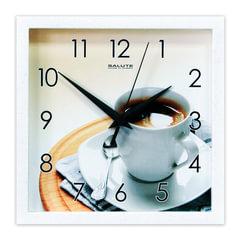 """Часы настенные САЛЮТ ПЕ-А8-249, квадрат, белые с рисунком """"Кофе"""", белая рамка, 23,5х23,5х3,5 см"""