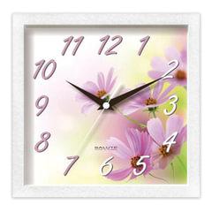 """Часы настенные САЛЮТ ПЕ-А8-259, квадрат, с рисунком """"Цветы"""", белая рамка, 23,5х23,5х3,5 см"""