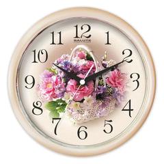 """Часы настенные САЛЮТ ПЕ-Б7-219, круг, с рисунком """"Белая корзинка"""", бежевая рамка, 24,5х24,5х3,5 см"""