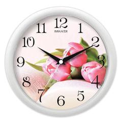 """Часы настенные САЛЮТ ПЕ-Б7-226, круг, с рисунком """"Тюльпаны"""", белая рамка, 24,5х24,5х3,5 см"""