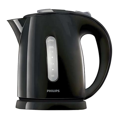 Чайник PHILIPS HD4646/20, закрытый нагревательный элемент, объем 1,5 л, мощность 2400 Вт, пластик, черный
