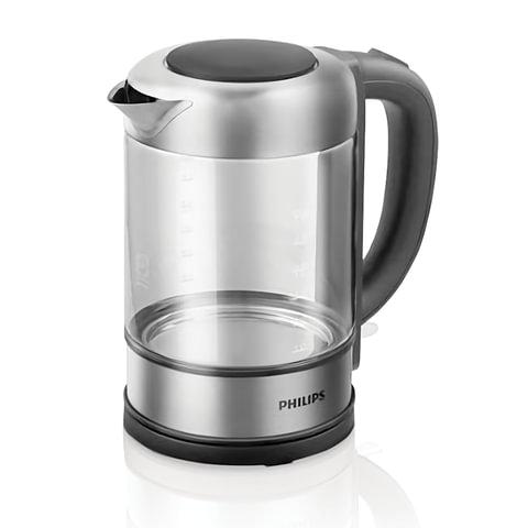 Чайник PHILIPS HD9342/01, закрытый нагревательный элемент, объем 1,5 л, мощность 2200 Вт, стекло, серебристый