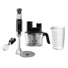 Блендер погружной PHILIPS HR1677/90, 800 Вт, регулируемая скорость, кухонный комбайн, 3 насадки, стакан, серый/черный