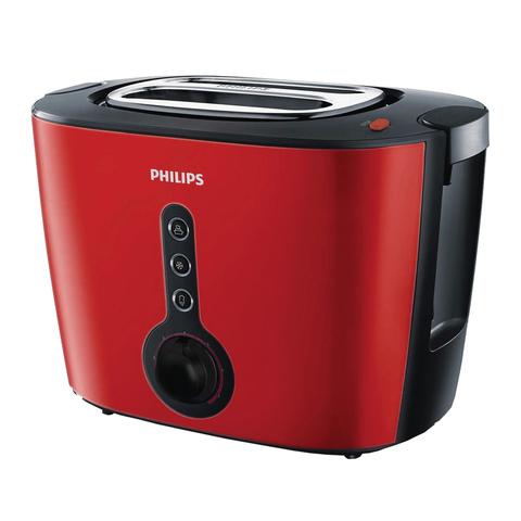 Тостер PHILIPS HD2636/40, 1000 Вт, 2 тоста, 7 режимов, подогрев, разморозка, металл, красный