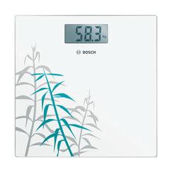 """Весы напольные BOSCH PPW3303, электронные, вес до 180 кг, квадратные, стекло, белые, рисунок """"бамбук"""""""