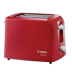 Тостер BOSCH TAT3A014, 900 Вт, 2 тоста, разморозка, подогрев, решетка для булочек, пластик, красный