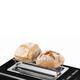 Тостер BOSCH TAT8613, 860 Вт, 2 тоста, разморозка, подогрев, решетка для булочек, нержавеющая сталь, черный