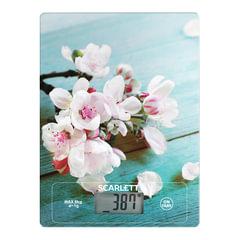 """Весы кухонные SCARLETT SC-KS57P20 """"Цветы"""", электронный дисплей, max вес 8 кг, тарокомпенсация, стекло"""