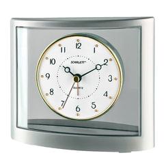"Часы-будильник SCARLETT SC-855, электронный сигнал, пластик, ""серебро"""