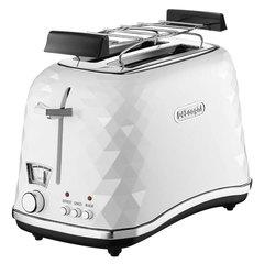 Тостер DELONGHI CTJ2103.W, 900 Вт, 2 тоста, разморозка, подогрев, решетка для булочек, белый