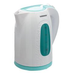 Чайник SONNEN KT-2016, 2 л, 2200 Вт, закрытый нагревательный элемент, пластик, белый/голубой