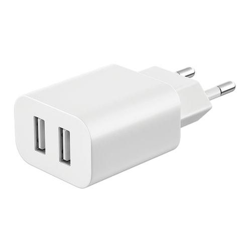 Зарядное устройство сетевое (220 В) DEPPA Ultra, кабель Lightning 1,2 м, 2 порта USB