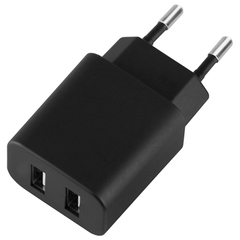 Зарядное устройство сетевое (220 В) DEPPA Ultra, 2 порта USB, выходной ток 2,1 А, черное