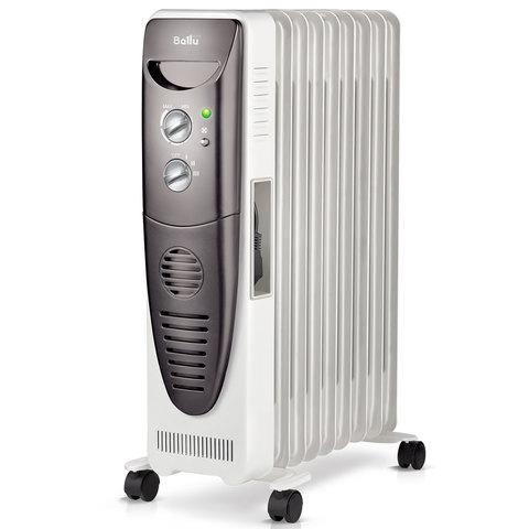 Обогреватель масляный BALLU BOH/TB-09FH, 2000 Вт, 9 секций, тепловентилятор, белый/серый