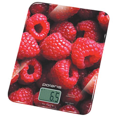 """Весы кухонные POLARIS PKS 0832DG """"Малина"""", электронный дисплей, max вес 8 кг, тарокомпенсация, стекло"""