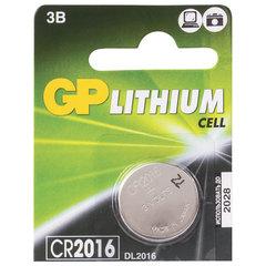 Батарейка GP Lithium, CR2016, литиевая, 1 шт., в блистере (отрывной блок)