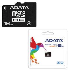Карта памяти micro SDHC, 16 Gb, A-DATA, скорость передачи данных 4 Мб/сек. (class 4)
