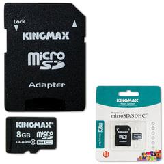 Карта памяти micro SDHC, 8 GB, KINGMAX, 10 Мб/сек. (class 10), с адаптером