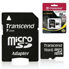 Карта памяти micro SDHC 16 GB TRANSCEND, скорость передачи данных 10 Мб/сек. (class 10), с адаптером