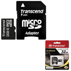Карта памяти micro SDHC, 32 GB, TRANSCEND, 10 Мб/сек. (class 10), с адаптером