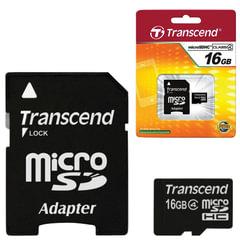 Карта памяти micro SDHC 16 GB TRANSCEND, скорость передачи данных 4 Мб/сек. (class 4), с адаптером