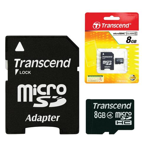 Карта памяти micro SDHC, 8 GB, TRANSCEND, 4 Мб/сек. (class 4), с адаптером