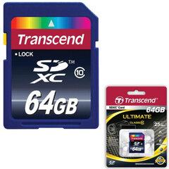 Карта памяти SDXC, 64 GB, TRANSCEND, 16 Мб/сек. (class 10)
