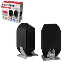 Колонки компьютерные SONNEN SP-С3, 2.0, 2х2 W, пластик, черные, разъем для наушников