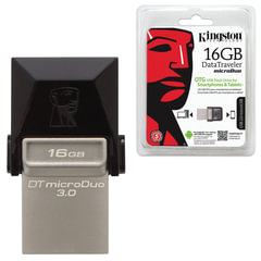 Флэш-диск 16 GB KINGSTON DataTraveler MicroDuo, OTG+USB 3.0, черный