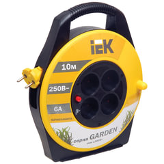 Удлинитель на катушке IEK (ИЕК) GARDEN, ГОСТ Р51539, 4 розетки без заземления, 10 м, 2х0,75 мм, 1300 Вт