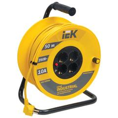 Удлинитель на катушке IEK (ИЕК) INDUSTRIAL, ГОСТ Р51539, 4 розетки с заземлением, 50 м, 3х1,5 мм, 2200 Вт