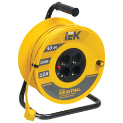 Удлинитель на катушке IEK (ИЕК) INDUSTRIAL, ГОСТ Р51539, 4 розетки, 30 м, 3х1,5 мм, 3500 Вт, с заземлением