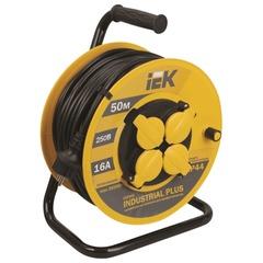 Удлинитель на катушке IEK (ИЕК) INDUSTRIAL PLUS, ГОСТ Р51539, 4 розетки с заземлением, 50 м, 3х1,5 мм, 3500 Вт