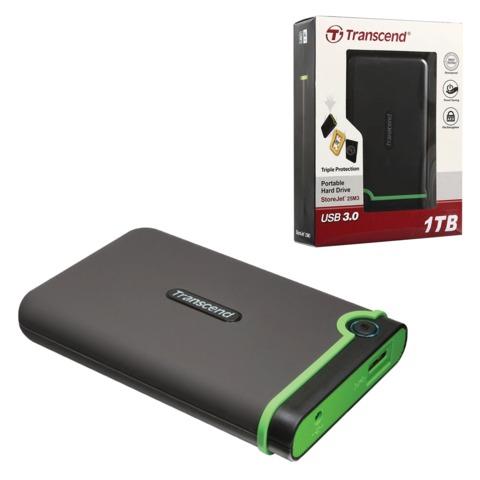 """Диск жесткий внешний TRANSCEND, StoreJet 25M3, 1 Tb, 2,5"""", USB 3.0, пластик, черный"""